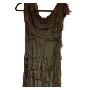 Fitted waterfall chiffon dress